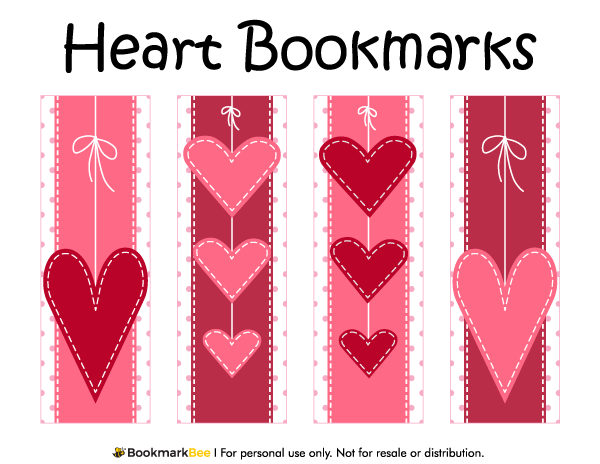 Free Printable Heart Bookmarks Download The PDF Template
