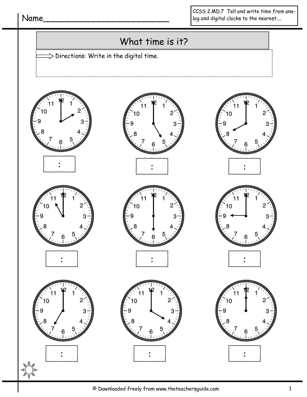 Time Worksheets For Kindergarten For Download Free