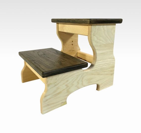 A Rustic Handmade Wood Two Step Stool With Steps Measuring 6 And 12 Tall