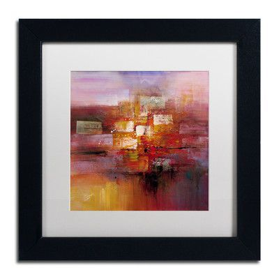 """Trademark Art 'Shadows' by Ricardo Tapia Framed Painting Print Size: 11"""" H x 11"""" W, Matte Color: White"""
