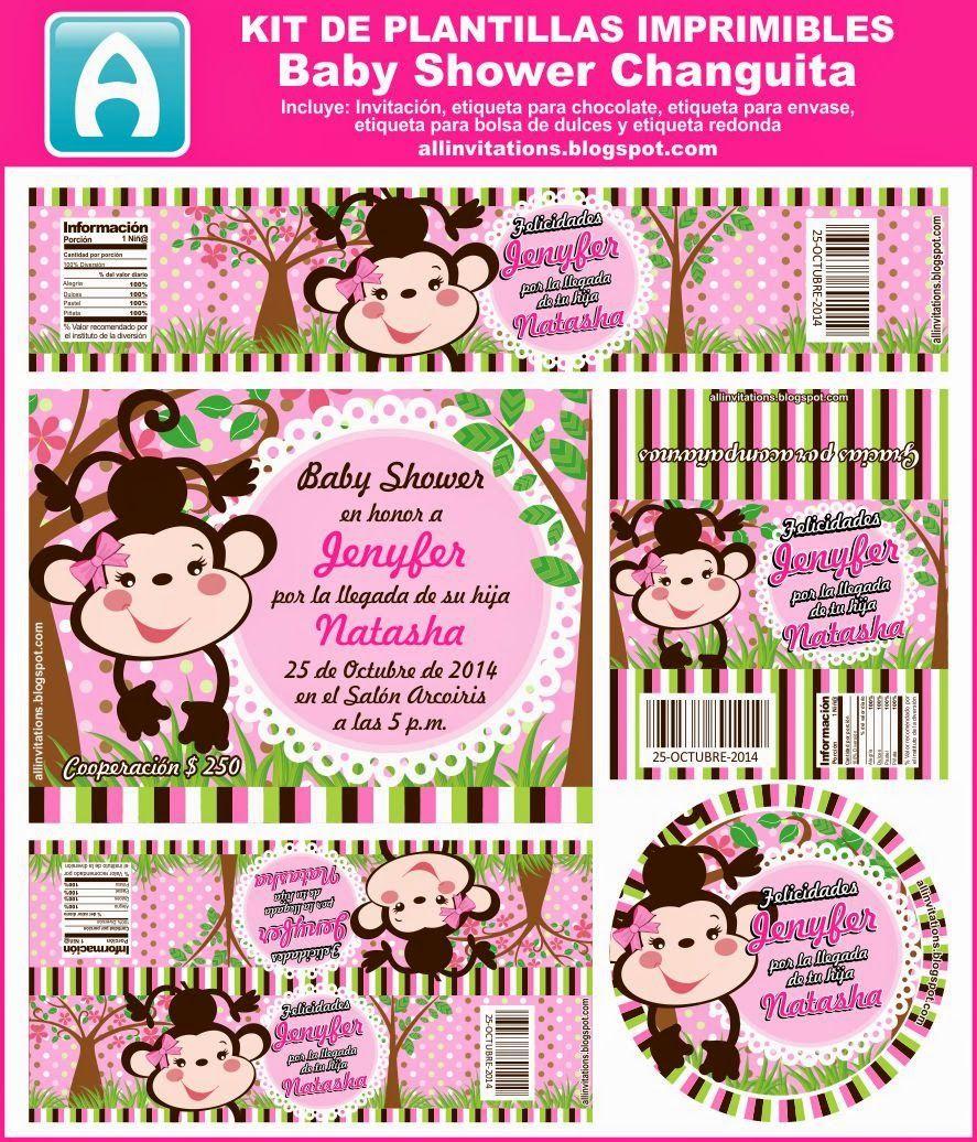 Kit imprimible para baby shower como tema una Changuita | Kit ...
