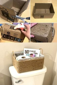 DIY rope basket- Upcycle your old box into the perfect storage solution. Organize your bathroom or your home with this great budget friendly upcycle. Organize your home on a budget. #diy #budget #organize #upcycle #hometalk #boxes #bathroom #homeorganization