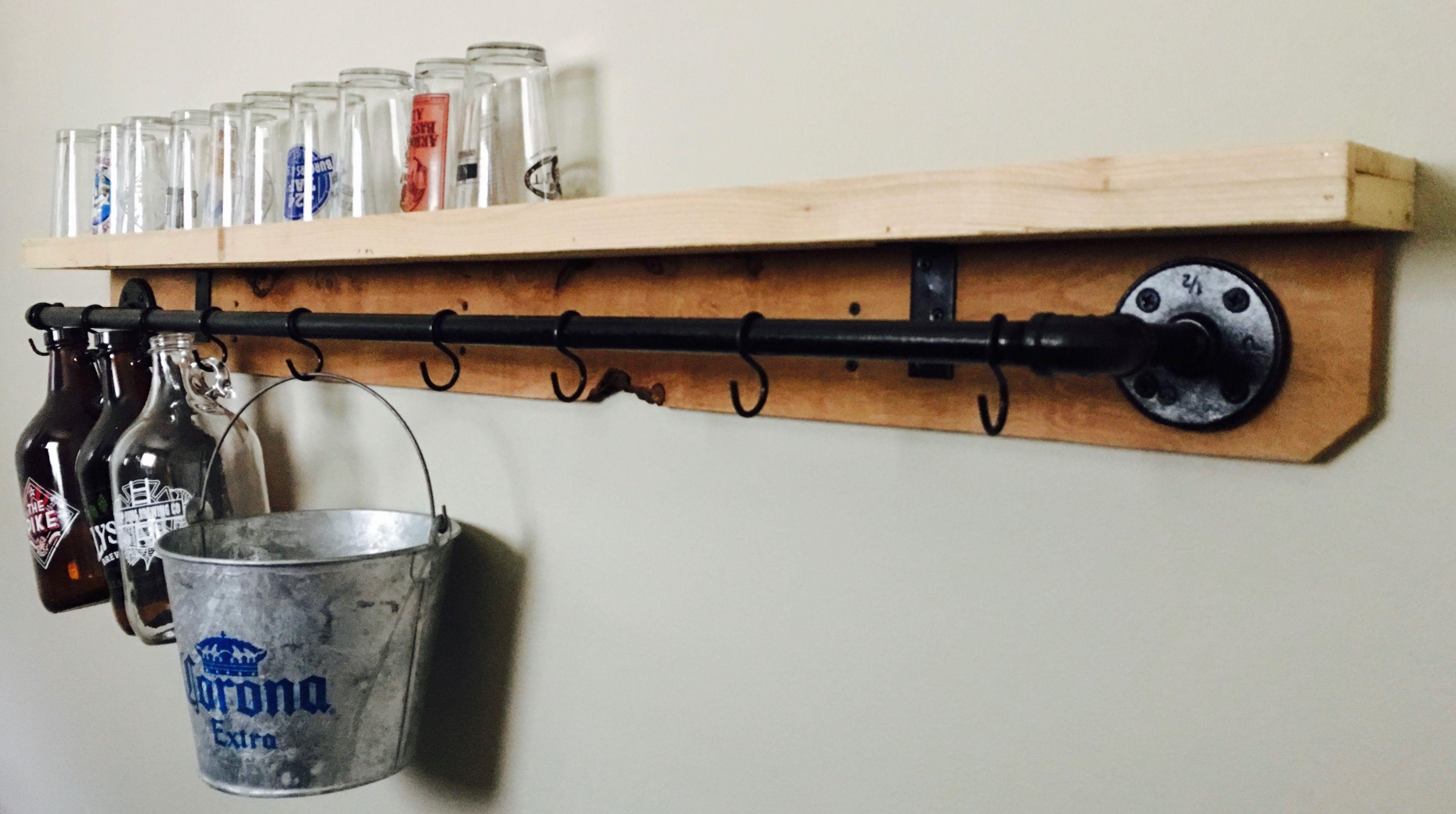 Growler Racks + Pint Glass Shelf Shelves, Glass shelves
