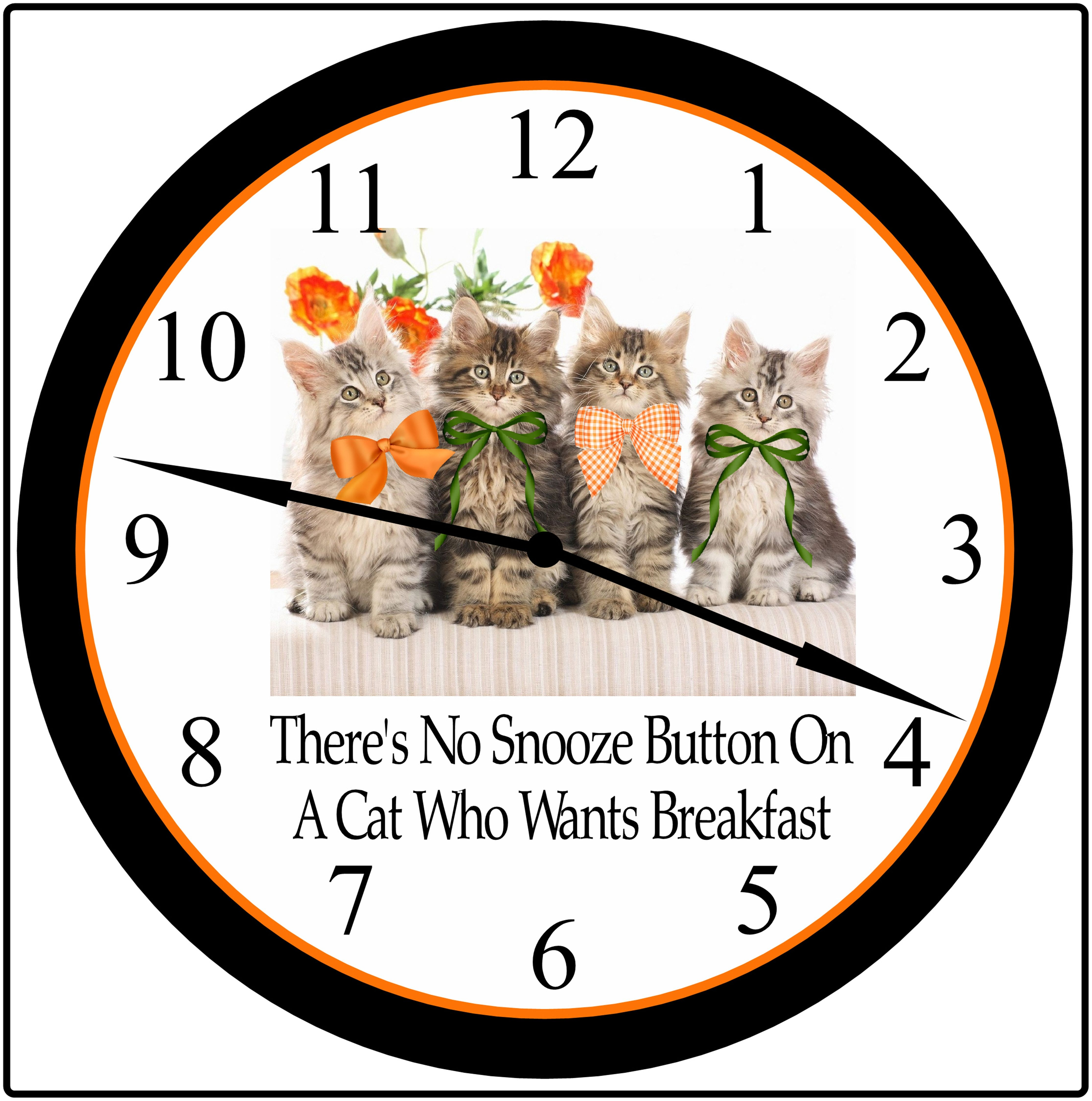 """Cat Lovers 9 In. Wall Clock Home Decor.  You can personalized this clock with your """"Own Saying"""".Contact me @simplysoutherngift@aol.com to place your order.  PayPal debit or credit cards accepted."""