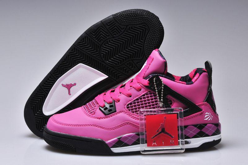 6cdadc9a3a8 Nike Air Jordan 4 Pink Black Womens Basketball Shoes