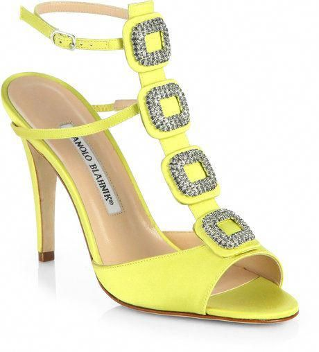 4b7b096a2 Manolo Blahnik ~ Suw Jeweled Satin Sandals - Lyst  ManoloBlahnik ...