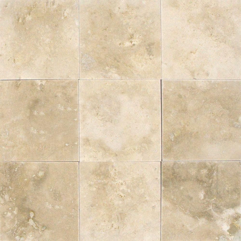 MSI Ivory 4 in. x 4 in. Honed Travertine Floor and Wall Tile (1 sq ...