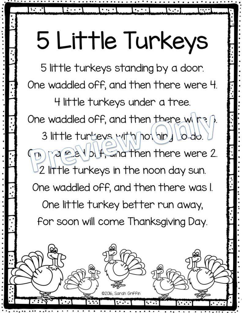 Five Little Turkeys poem