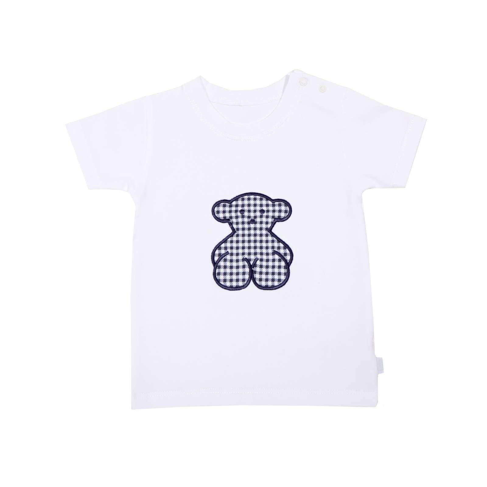 Camiseta de algodón de la colección Sailor de Baby Tous, de corte recto, cuello redondo y manga corta. Aplicación de oso bordado en color azul marino con cuadritos vichy en la parte central. Apertura en el hombro con botones de presión. Fabricado en 100% algodón. Plazo de entrega: 24-48 horas.