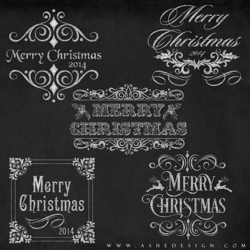 Amped Up Word Art Set Chalkboard Merry Christmas