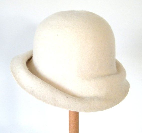 94f4ee55b white cloche hat for women/ ivory winter hat/ white felt hat/ short ...