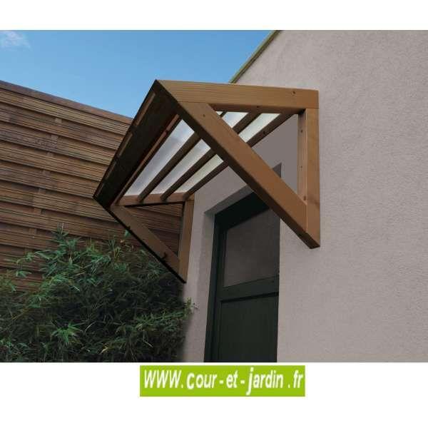 Auvent De Porte 3D - Marquise Bois Et Polycarbonate - Cour Et Jardin