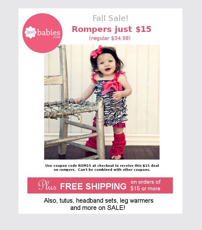 Baby Rompers ON SALE!! | $15 plus free shipping! 500babies.com Coupon Code ROM15
