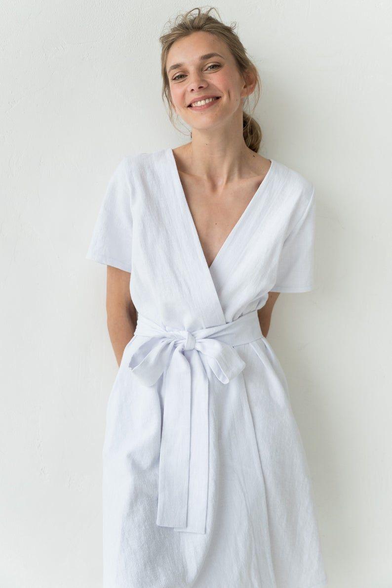 White Linen Dress White Summer Dress Linen Clothing V Neck Etsy White Dress Summer Linen Clothes Linen Dress [ 1189 x 794 Pixel ]