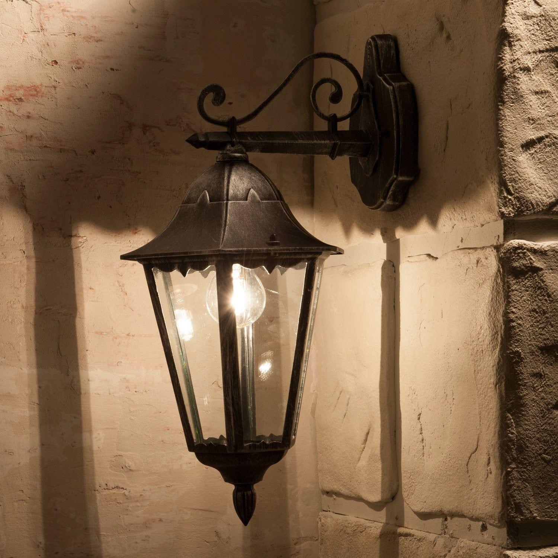 Applique Descendante Exterieure Navedo E27 60 W Noir Argent Eglo Applique Murale Parement Mural Luminaire Exterieur