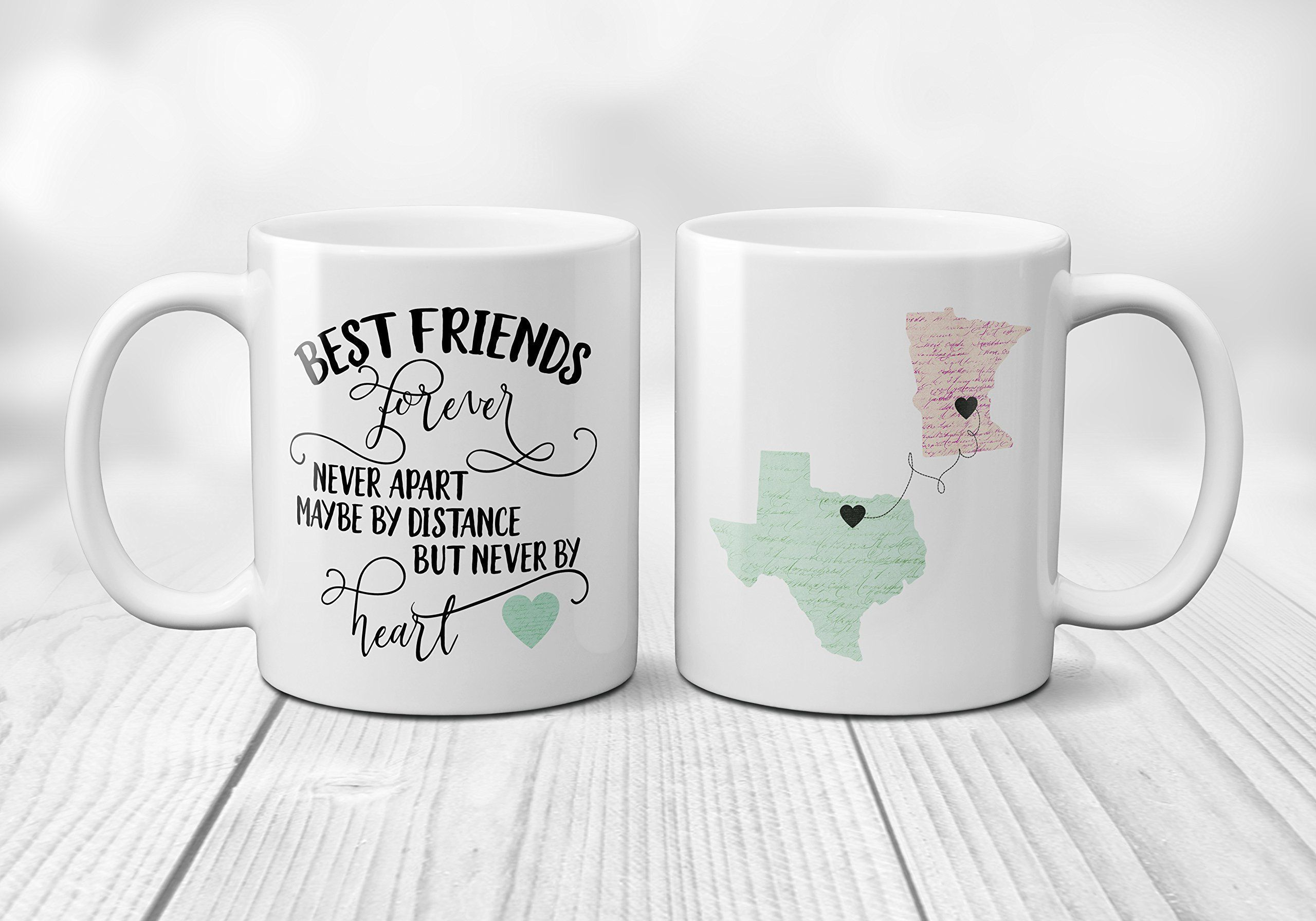 Best friends forever long distance coffee mug personalized