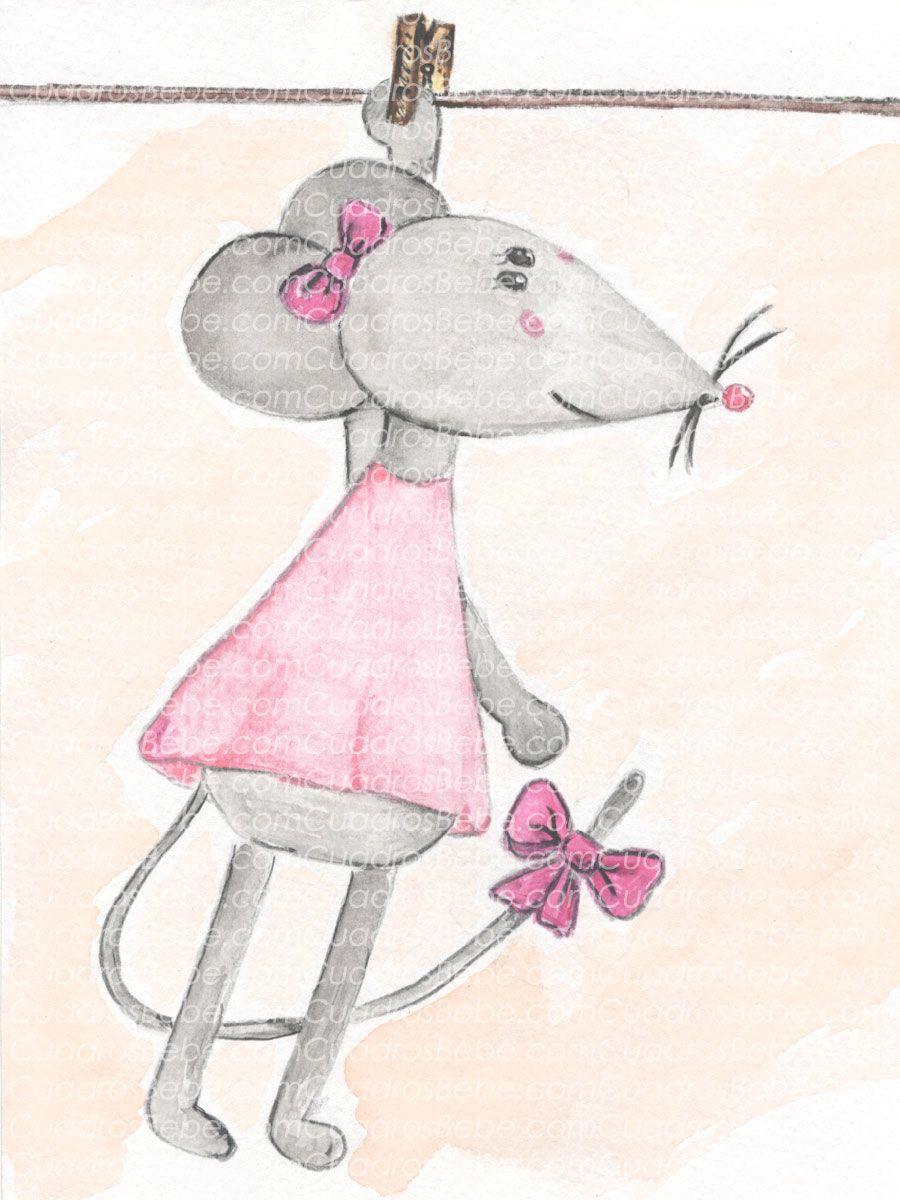 Cuadro bebe rat n o ratita de peluche pintado a mano con for Cuadros habitacion bebe