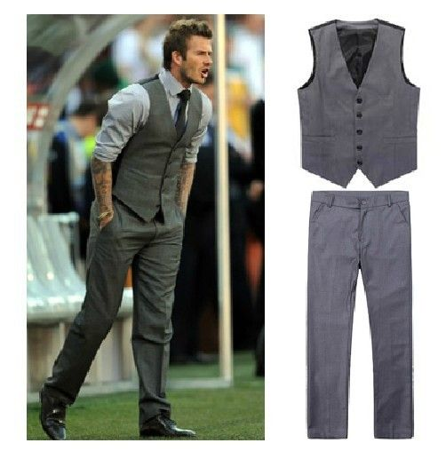 Men's Beckham's Style Dress Vest for Suit or Tuxedo Casual Vest   ...