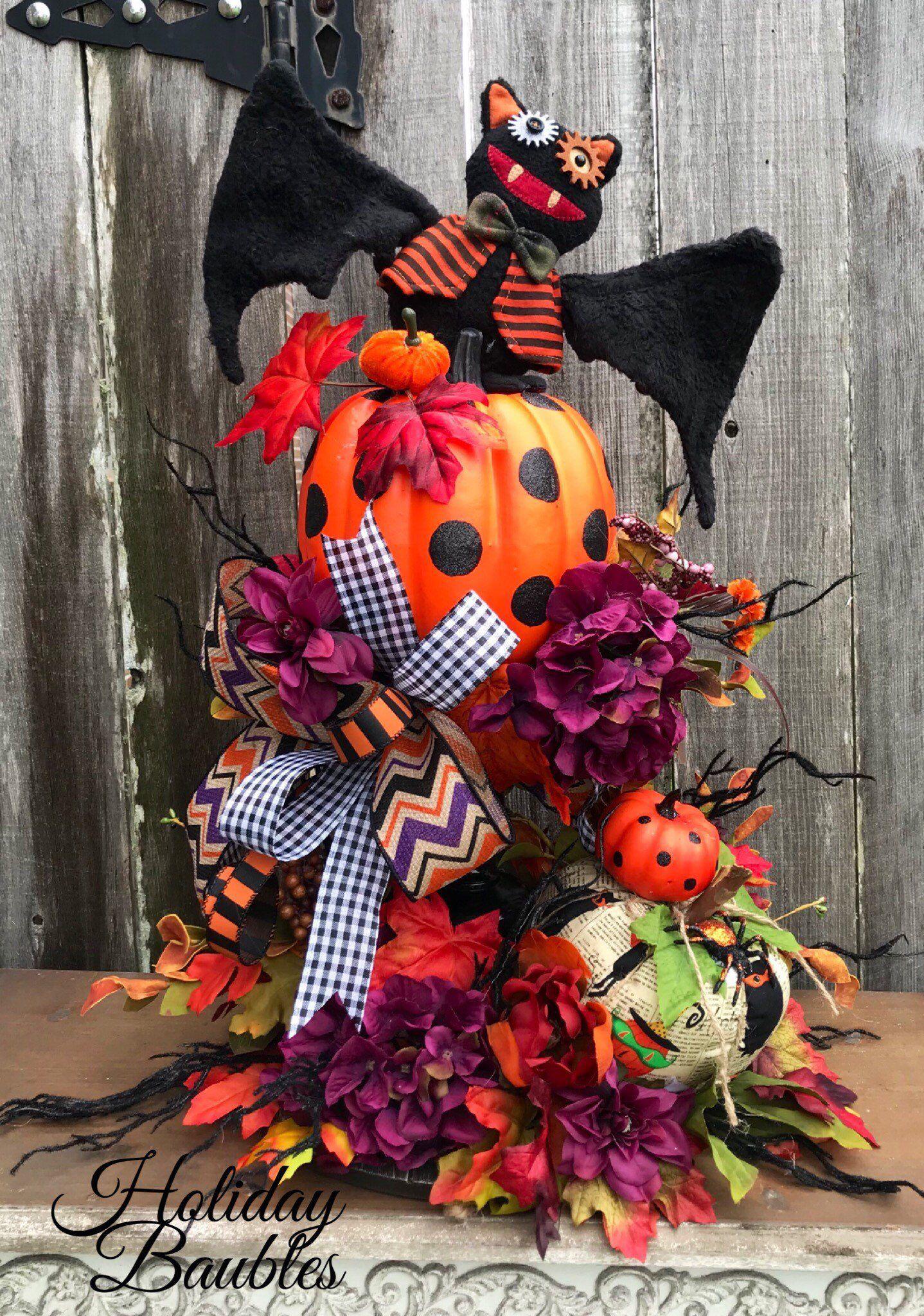 Halloween Arrangement, Bat Centerpiece, Happy Halloween Centerpiece, Harvest Halloween Decor,