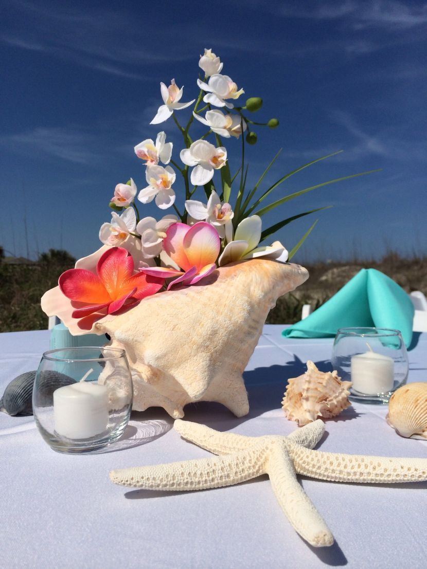 Orchid And Conch Shell Wedding Table Centerpiece
