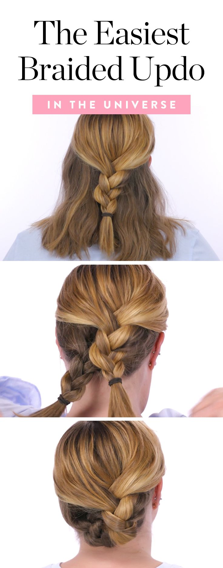 The easiest braided updo in the universe updo easy braided updo