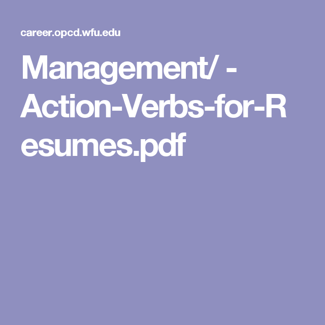 Good Resume Verbs Entrancing Management  Actionverbsforresumes.pdf  Career Guidance .