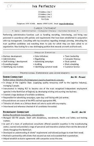 Recruitment Consultant CV Template cv templates Sample resume