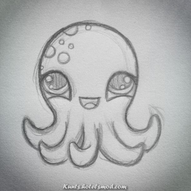 Schone Nette Zeichnung Jener Tintenfisch Bleistiftzeichnung Fisch Zeichnung Skizzieren