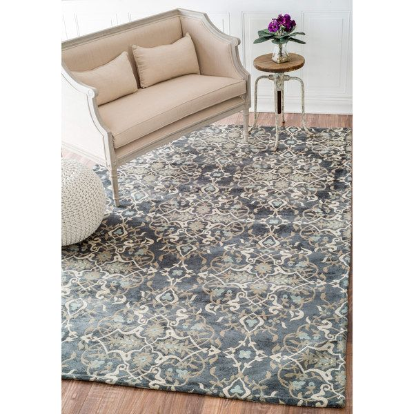 nuloom contemporary denim floral cotton area rug (8' x 10') by