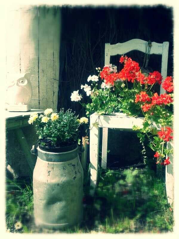 garten deco alte milchkanne alter stuhl old chair milk shabby chic garden flower spring nice. Black Bedroom Furniture Sets. Home Design Ideas