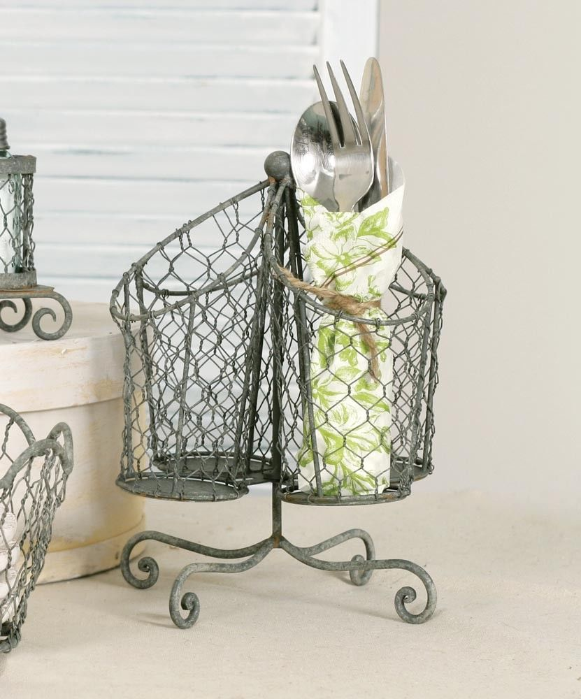 good Spinning Utensil Caddy Part - 16: NEW Rustic Farmhouse Chicken Wire Spinning Utensil Rack Barn Roof  #ColonialTinWorks