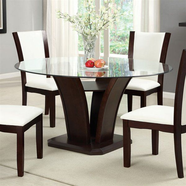 Furniture Of America CM3710RT TABLE Manhattan Round Dining Table With Glass Top 401