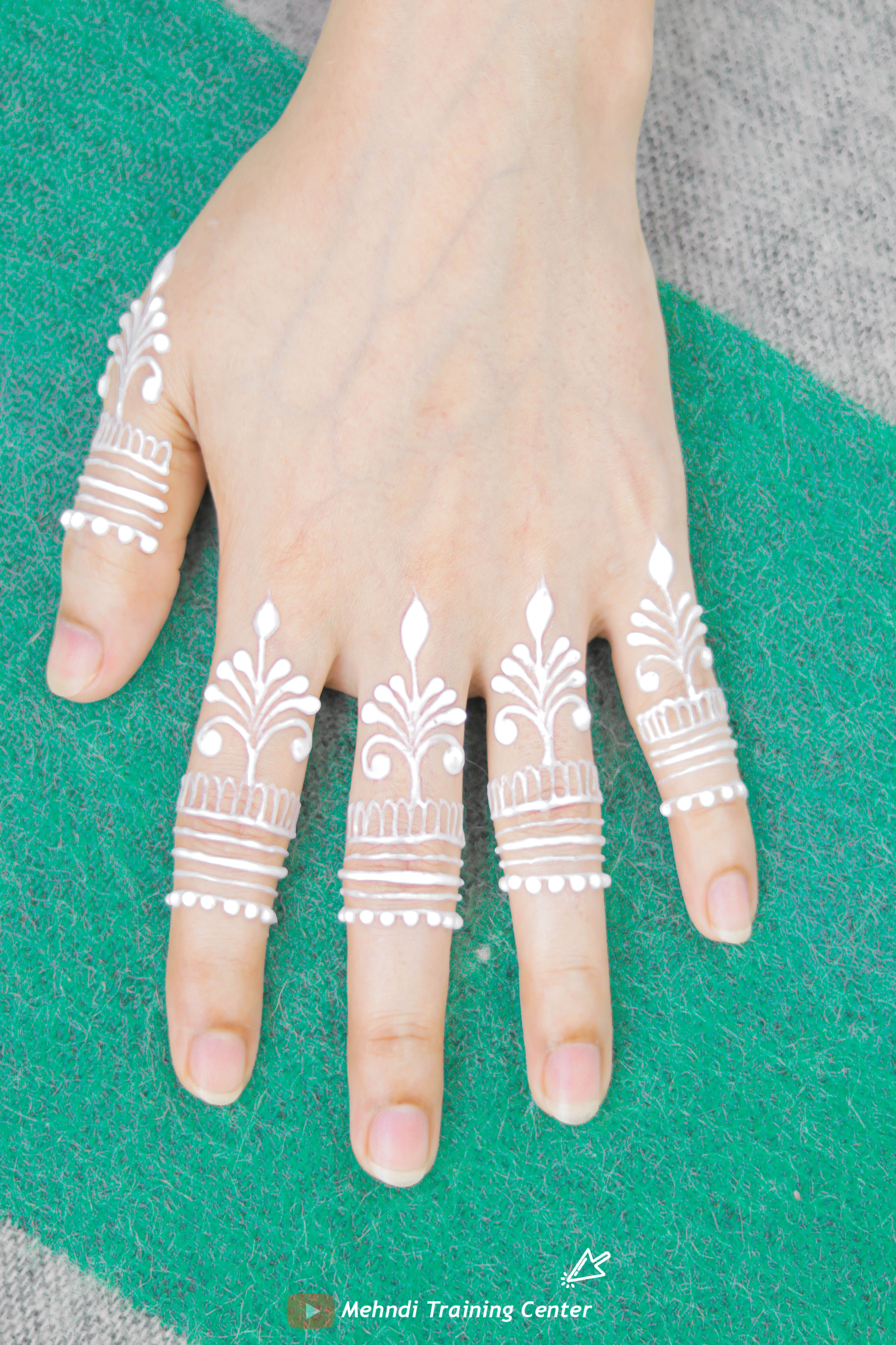 How To Apply Easy Simple Beautiful White Henna Fingers Design Mehndi Designs For Fingers Mehndi Designs For Fingers Hand Henna Mehndi Designs