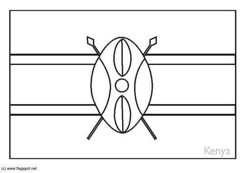 Coloring Page Flag Kenya With Images Kenya Flag Flag Coloring