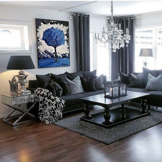 Abstract Tree Art Blue Acrylic Painting On Canvas Original Abstract Wall Decor By Benyuska Art In 2021 Gray Living Room Design Living Room Decor Gray Living Room Decor Colors