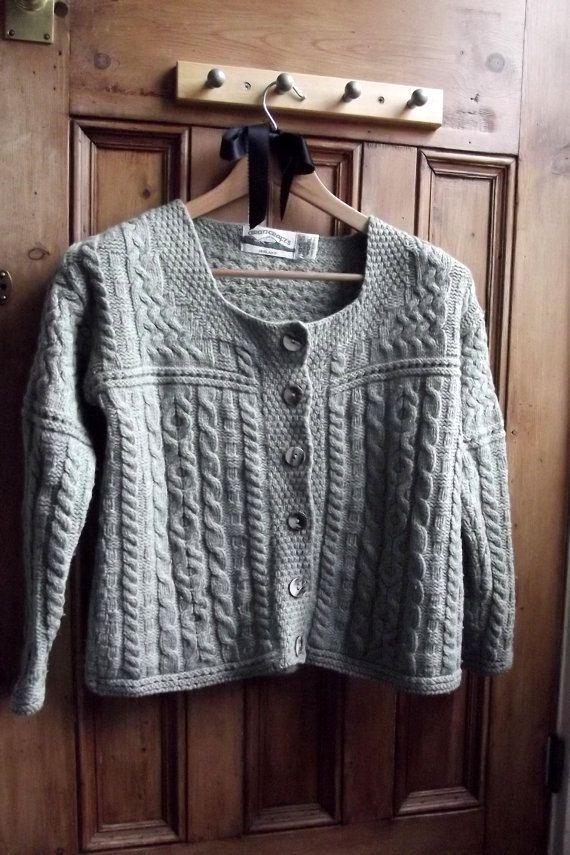Womens clothing merino sweater irish cardigan vintage sage green ...