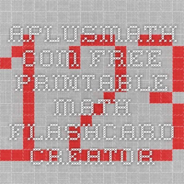 Aplusmath Com Free Printable Math Flashcard Creator Flashcards Multiplication Flashcards Math
