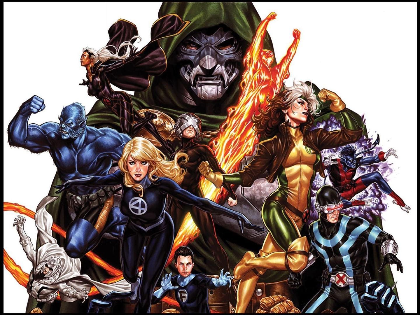 X Men Fantastic Four 1 Amp 2 Connecting Variant Covers By Mark Brooks In 2020 Fantastic Four Marvel X Spiderman Vs Superman