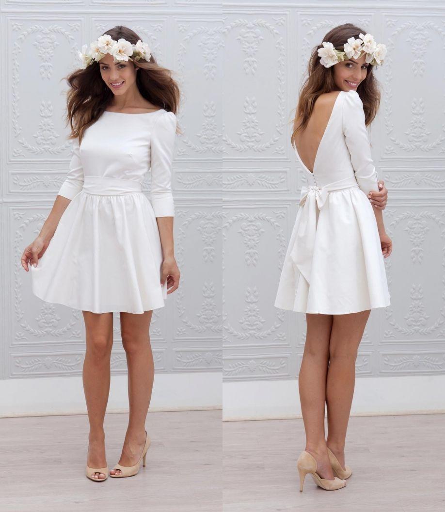 Mini white wedding dress  Designer Short Mini Reception Wedding Dresses  Aline