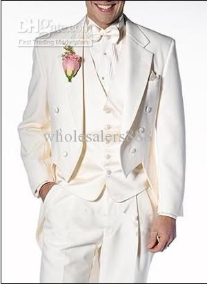 Tailcoat Ivory Groom Tuxedos Notch Lapel Groomsmen Men Wedding Suits ...