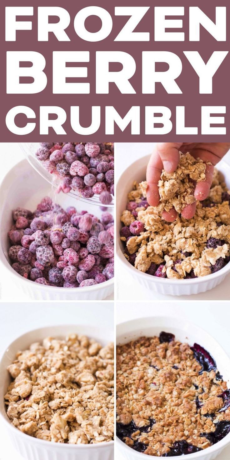 The easiest triple berry crumble, made with frozen fruit! Thickened frozen berries topped with an oat crumble topping. Ready in 10 minutes, and perfect for your next potluck! #dessert #berries