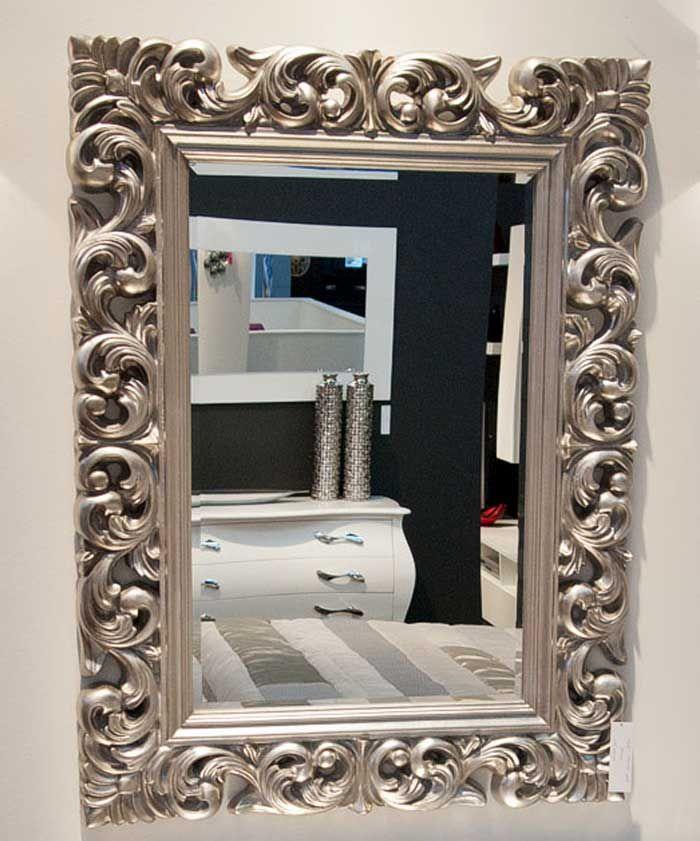 decofactoryes espejo moldura tallada plateado cm espejo fabricado en resina compactada con moldura tallada acabado plateado dimensiones totales cm - Espejos Plateados