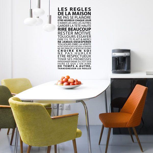Sticker regles de vie decoration murale originale humour déco design gali art
