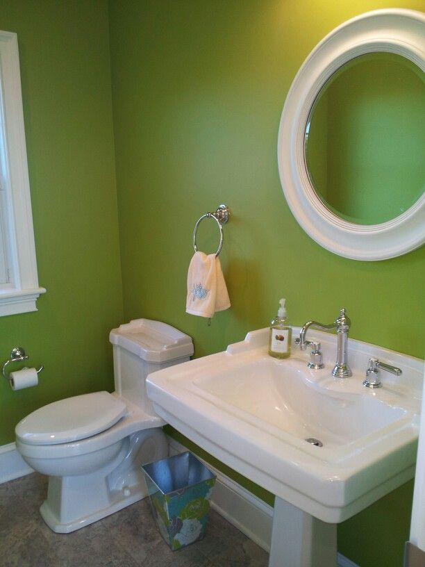 Simple Elements apple green powder room; like the fixtures....wall ...