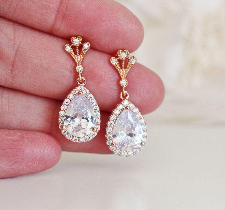 Rose Gold Bridal Earrings Vintage Style Drop Earrings Rose Gold ...