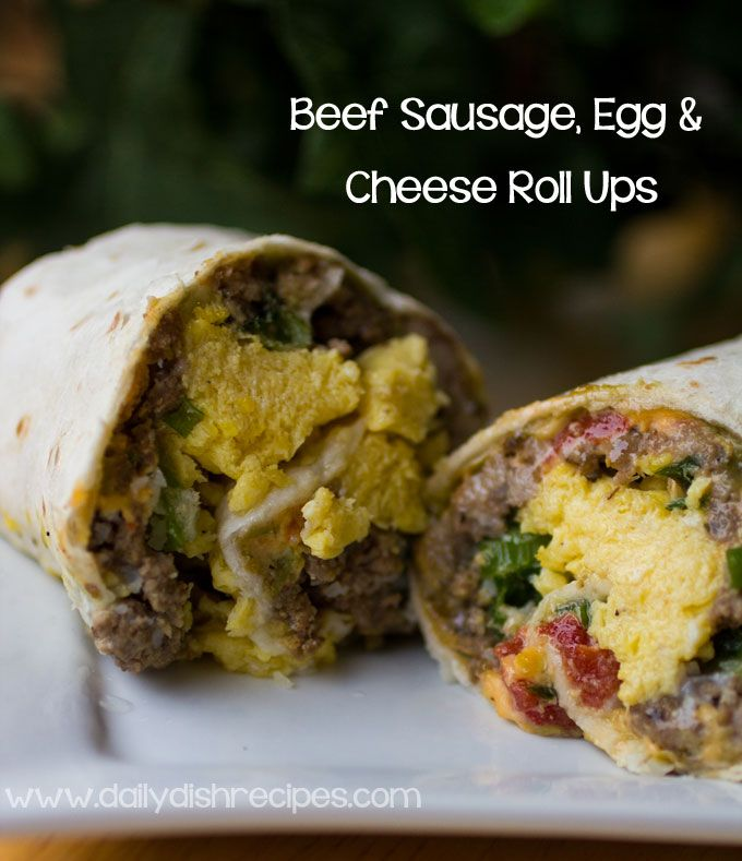 Try something a little different for breakfast: Beef sausage, egg and cheese roll ups! #beefsausage