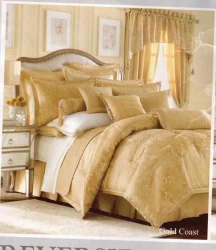 Reba Harmony Gold Coast King Comforter Set Skirt Shams