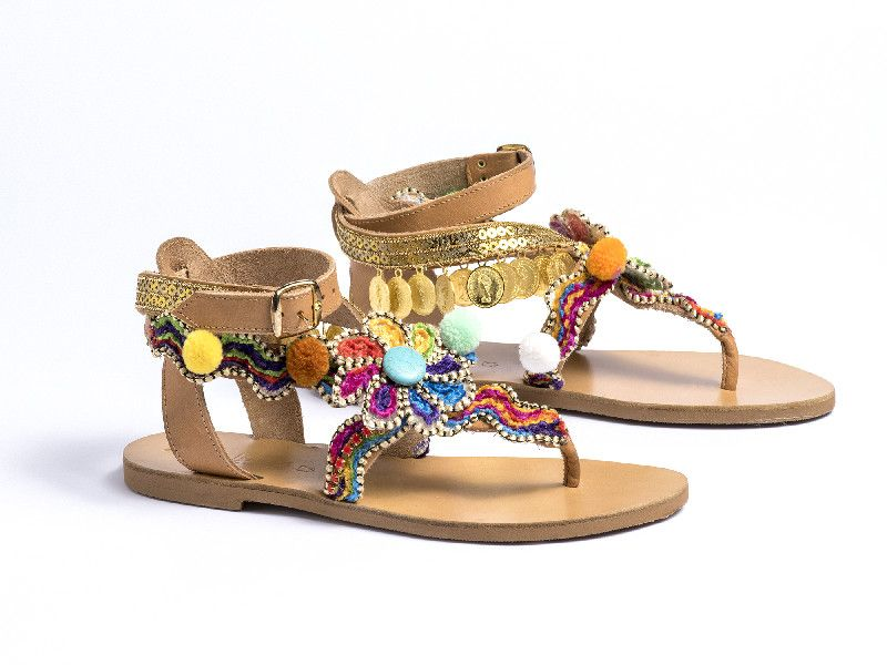 Leather Sandals Asian Queen, ELINA LINARDAKI Elina Linardaki