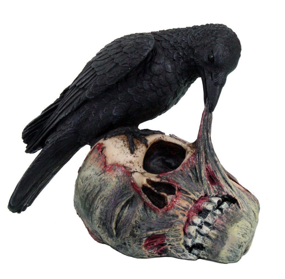 raven dark crow eating decayed zombie head flesh figurine statue halloween 55h - Raven Halloween Decorations