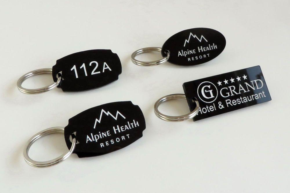 Set Of 10 Hotel Personalised Key Tags With Logo Key Chain Door Fob 3cm X 6cm Personalised Keyrings Fobs Keyrings